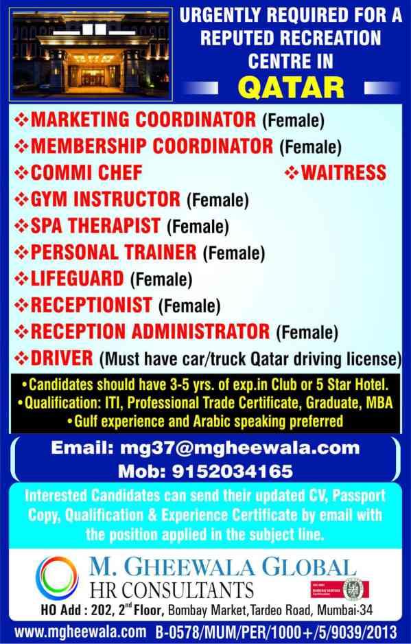Overseas job vacancies - Dubai, Saudi Arabia, and Qatar