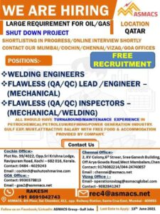 Free requirement for Qatar – Oil and Gas Jobs