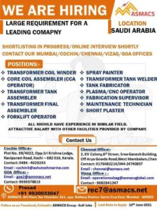 Large requirement for Saudi Arabia - Electrical jobs