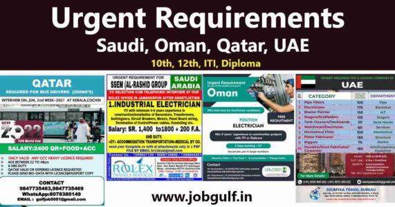 Overseas employment news – Jobs for Saudi Arabia, Oman, Qatar, UAE