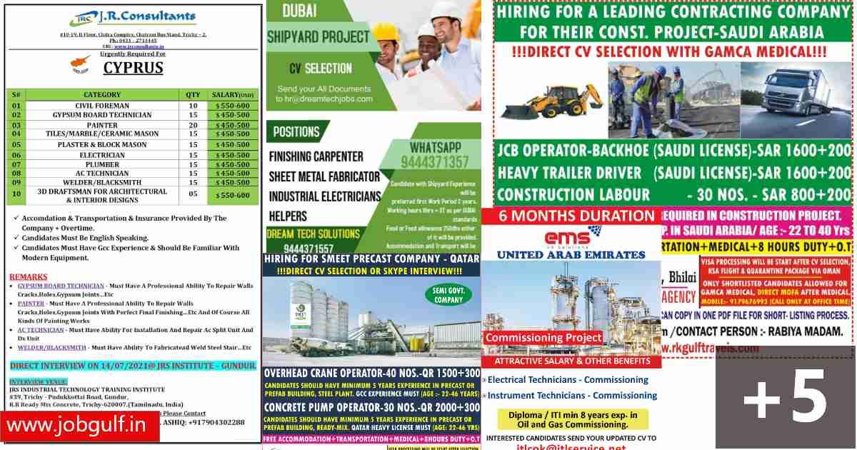 Assignment Abroad jobs – Saudi, UAE, Qatar, Cyprus