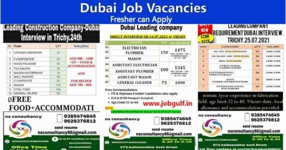Dubai Job vacancy | Technical, Engineering jobs