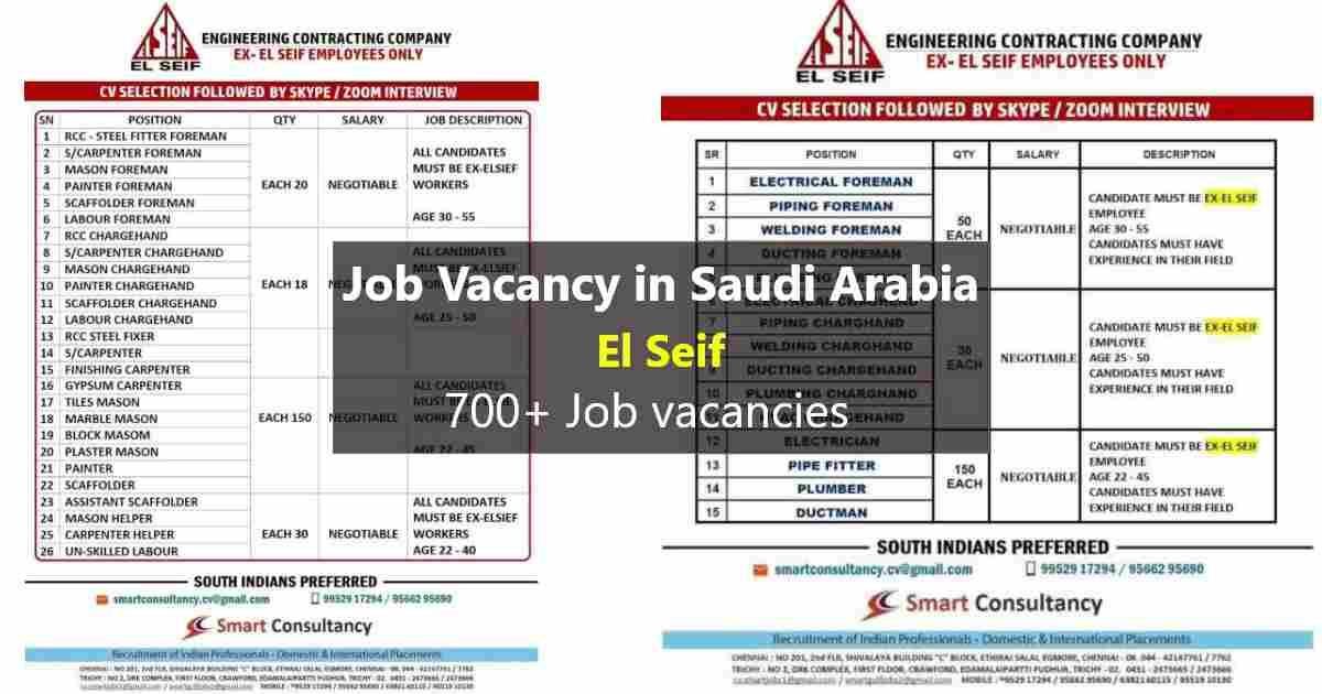 Urgent Requirement for Saudi Arabia – El Seif Engineering Co.