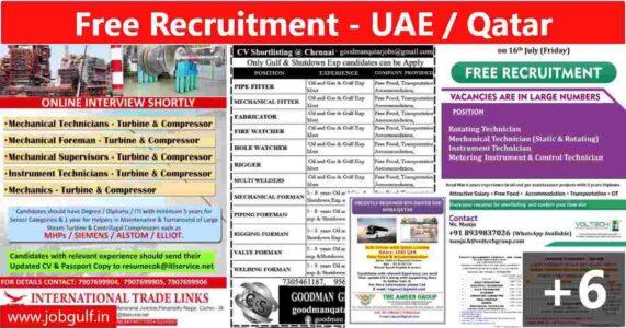 Gulf interviews India – Job vacancies for UAE & Qatar