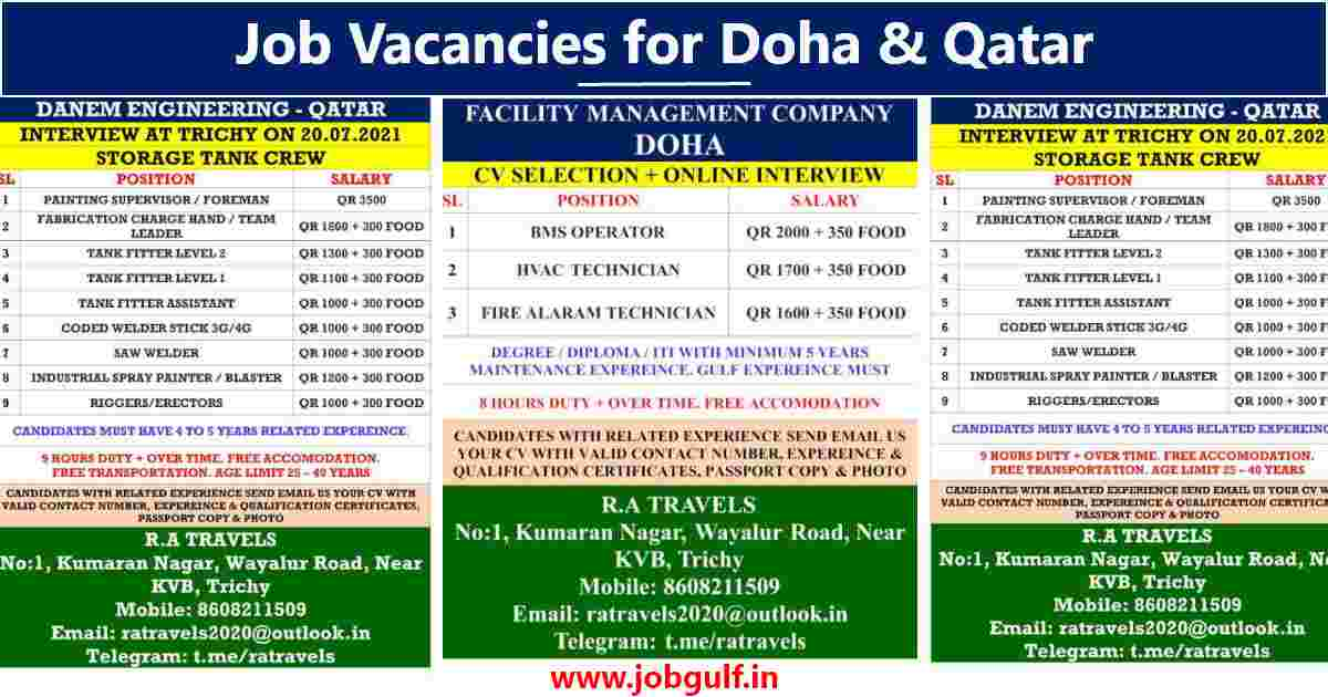 Gulf job indian |Hiring for Doha (UAE) and Qatar