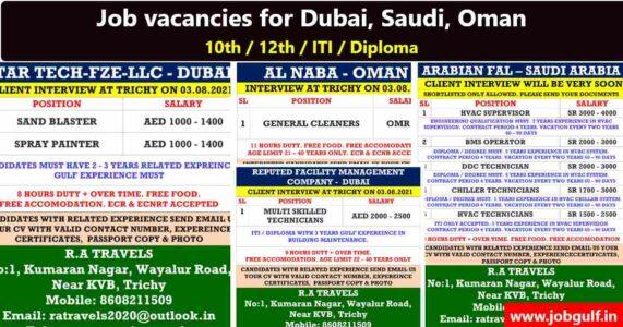 Gulf job vacancy | Hiring for Dubai, Saudi, Oman – ITI / Diploma