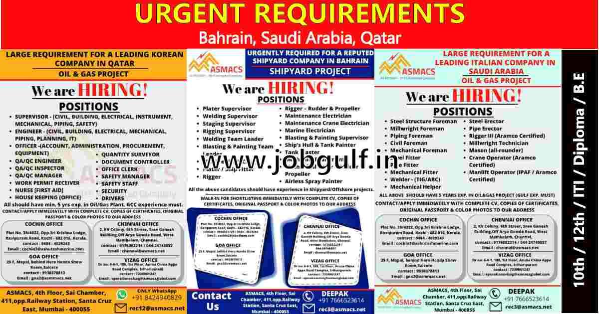 Gulf jobs abroad | Job vacancies for Bahrain, Saudi Arabia & Qatar