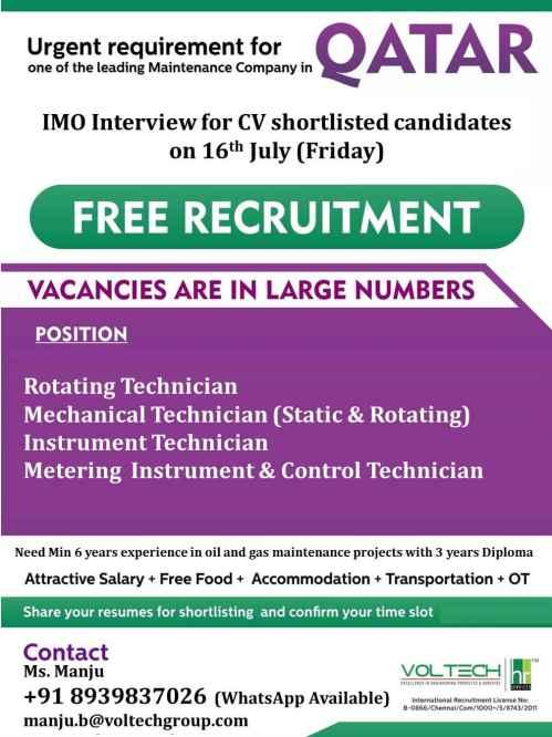 Oil & Gas maintenanace company jobs in Qatar