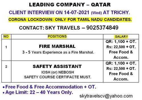 Qatar jobs Chennai