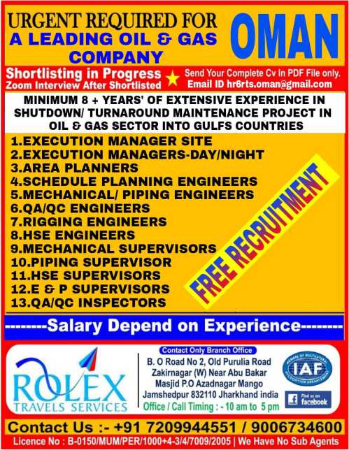 Free Recruitment | Oman job interview in Jamshedpur