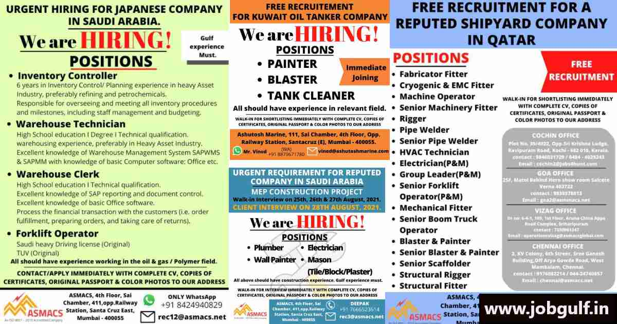 Asmacs Recruitment – Jobs vacancies for Qatar, Saudi, Kuwait