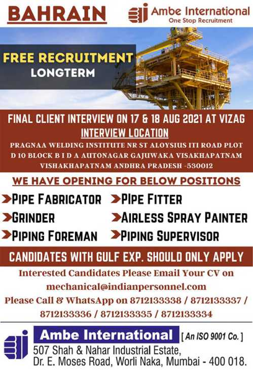 Free Recruitment for Bahrain