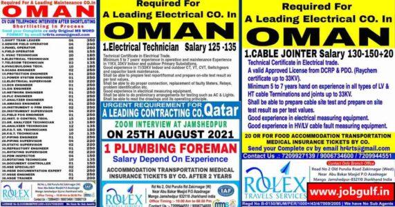 Gulfwalkin | Rolex travels – Job vacancies for Oman & Qatar