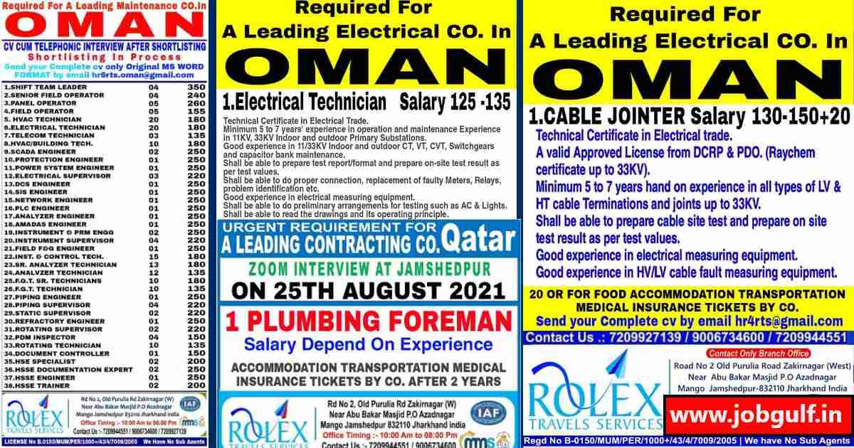 Gulfwalkin   Rolex travels – Job vacancies for Oman & Qatar