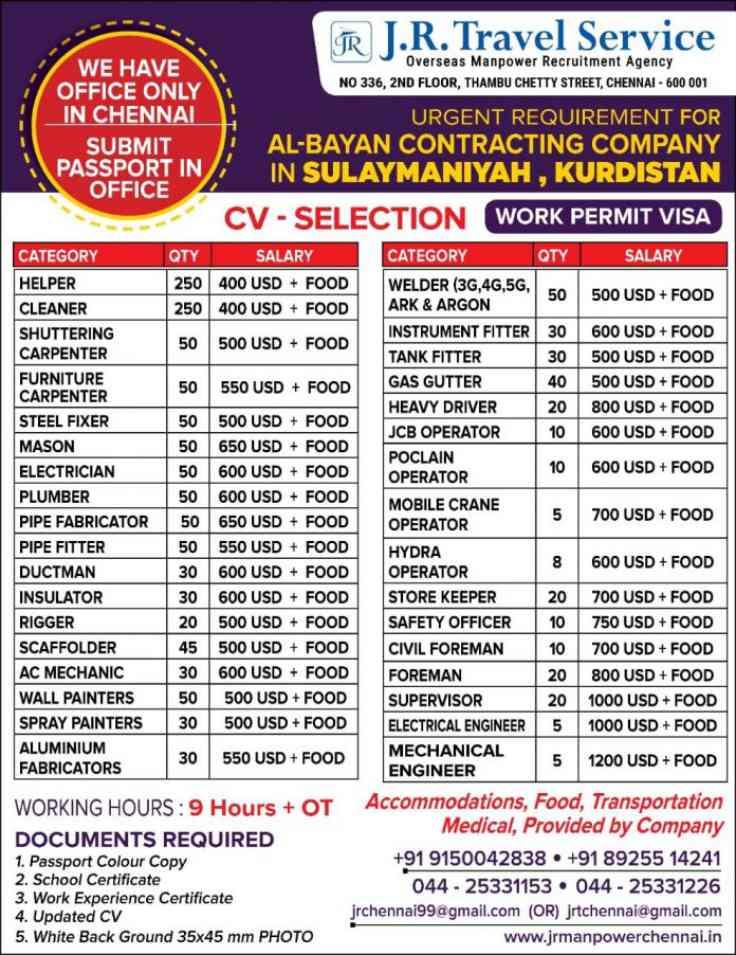 Hiring for Al-bayan Contracting Company – Kurdistan