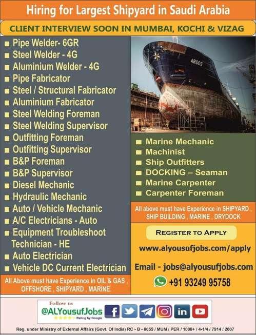 Hiring for Shipyard Saudi Arabia