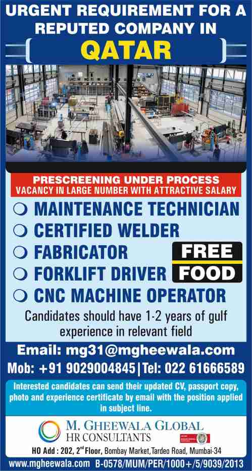 4. Hiring for reputed company - Qatar