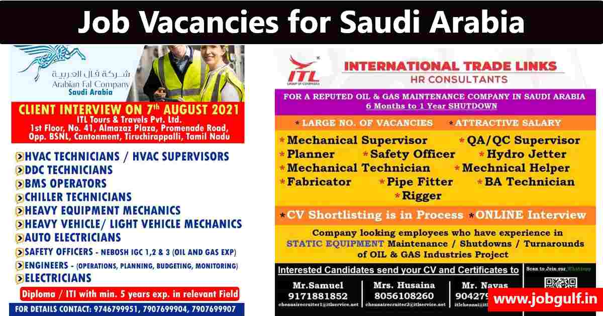 International trade links – Large job vacancies for Saudi Arabia