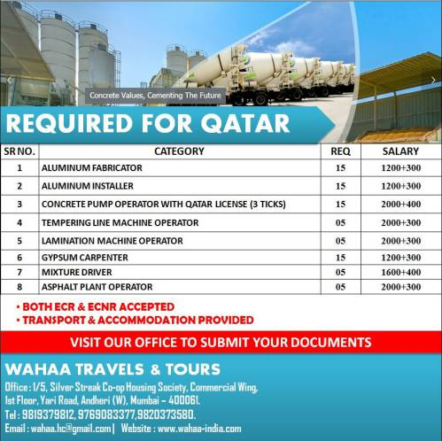 Work abroad from India - Jobs for Dubai & Qatar