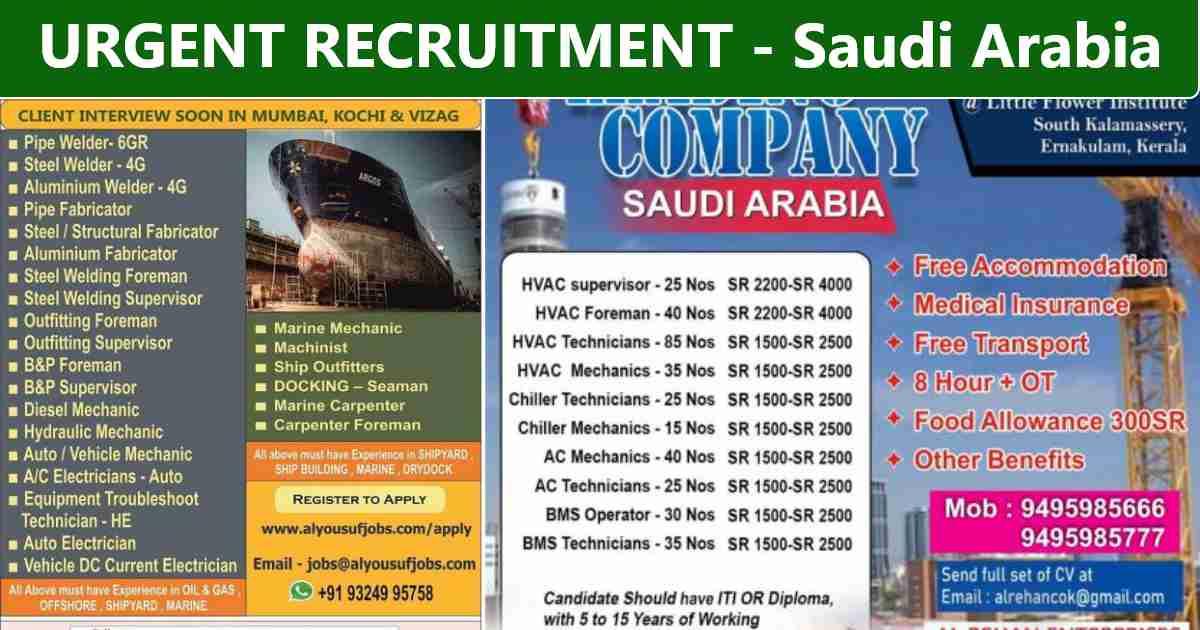 Saudi expatriates jobs | Recruitment for Shipyard & Construction project