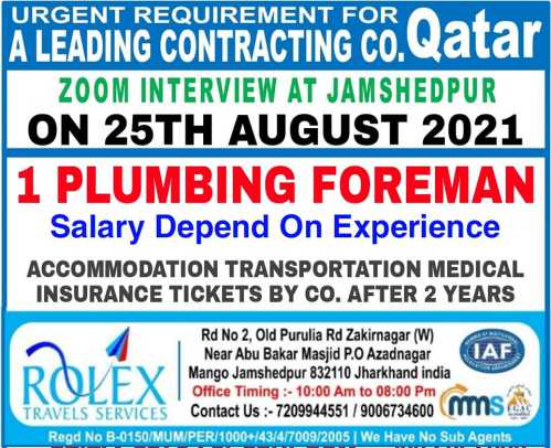 Wanted for Contracting Co. Qatar