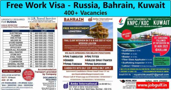 Work visa | Recruitment for Russia, Kuwait & Bahrain
