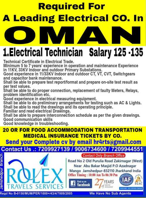 Electrical Technician Jobs Oman