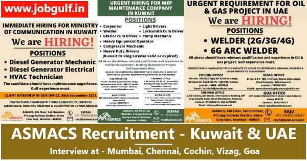 ASMACS Recruitment – Wanted for UAE & Kuwait