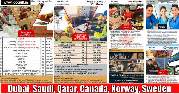 Abroad Job Vacancies – Dubai, Saudi, Qatar, Canada, Norway, Sweden