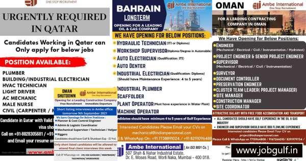 Ambe International Mumbai – Interview for Bahrain, Oman, and Qatar.