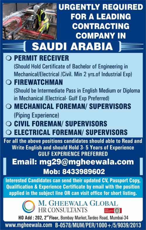M Gheewala Mumbai Gulf interview - Hiring for UAE & Saudi Arabia