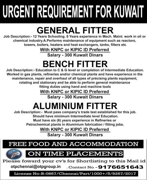 Fitter Jobs – Urgent Requirements for Kuwait