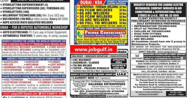 Gulf jobs | Urgently required for Saudi Arab, UAE, Qatar