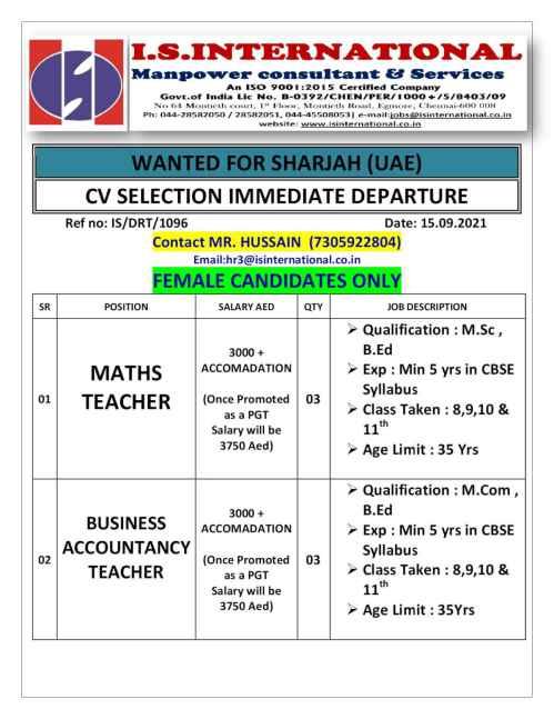 Hiring for Teachers in Sharjah