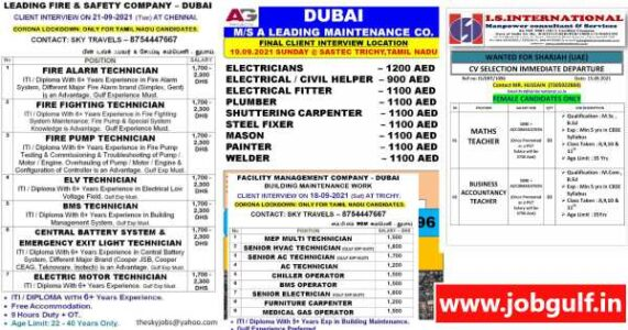 Job Vacancies for Dubai & Sharjah – Interview shortly