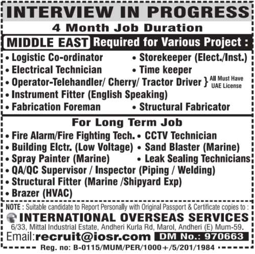 Middle East Jobs for various project
