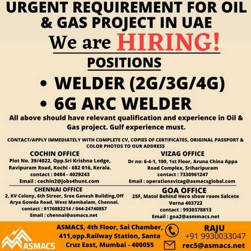 ASMACS Recruitment - Wanted for UAE & Kuwait