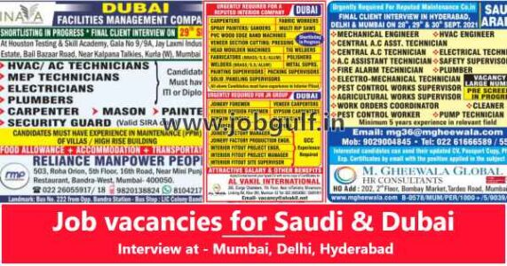 Overseas Jobs – Large vacancies for Saudi Arab & Dubai