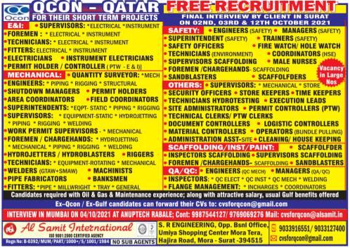 Qatar Free Recruitment    Qcon Qatar – Large vacancies