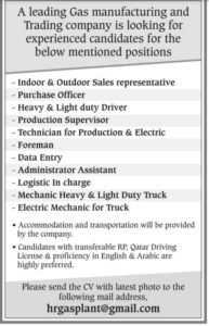 Qatar Living Jobs – Gas Manufacturing and Trading company