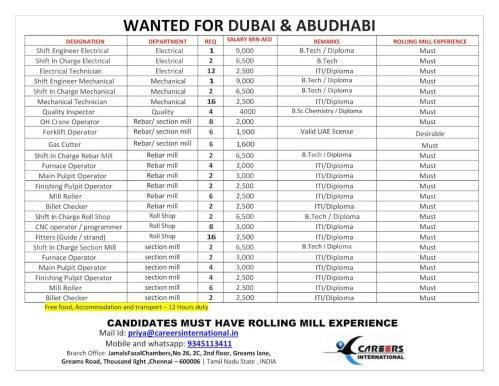 Wanted for Dubai and Abu Dhabi