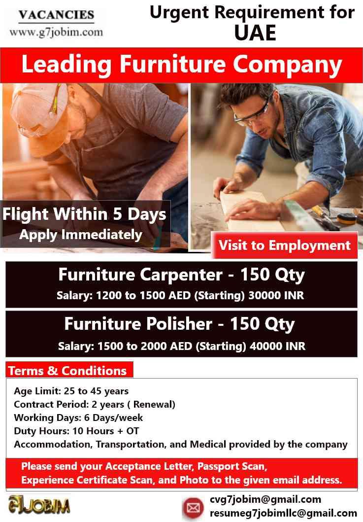 Urgent Requirements for UAE – Furniture Company