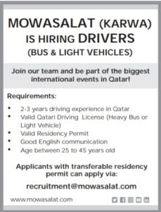 Qatar Mowasalat | Hiring Karwa Bus driver & Light drivers