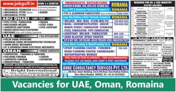 Abroad Job vacancies – UAE, Saudi, Oman & Romania
