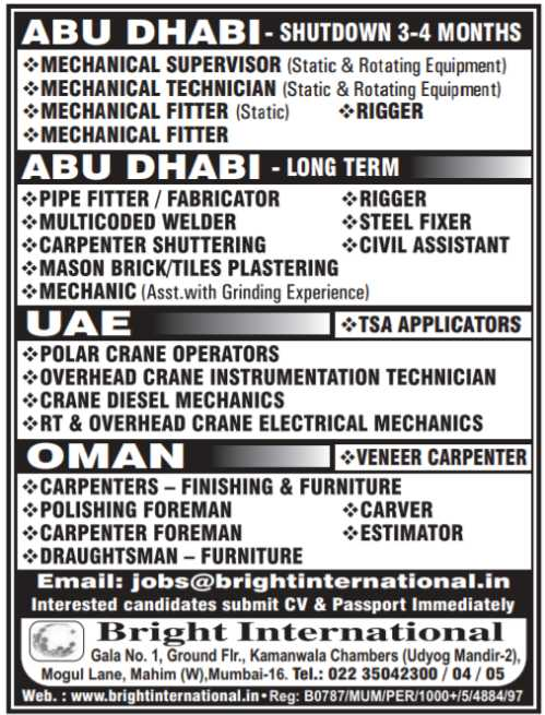 Abroad Job vacancies - UAE, Saudi, Oman & Romania